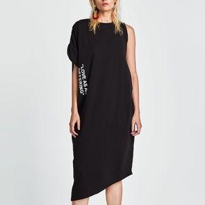 Zara black asymmetric dress with slogan